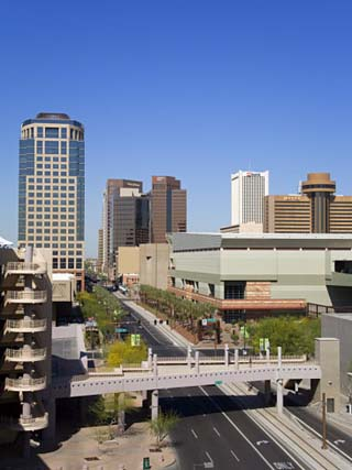 Washington Street and Skyline, Phoenix, Arizona, United States of America, North America