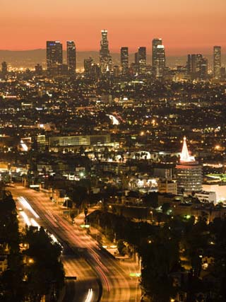 California, Los Angeles, Downtown and Hollywood Freeway 101 from Hollywood Bowl Overlook, USA