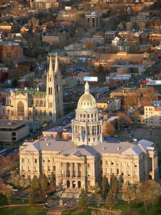 Aerial View of Denver with the Colorado State Capitol Building in Colorado