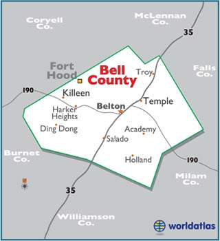 Map Of Bell County Texas