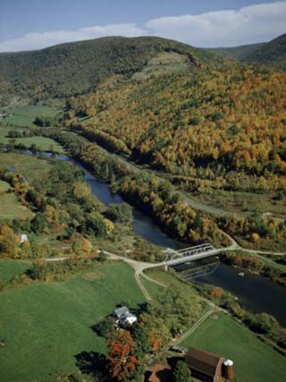 Autumn Foliage Colors Hills Along the Delaware River's West Branch