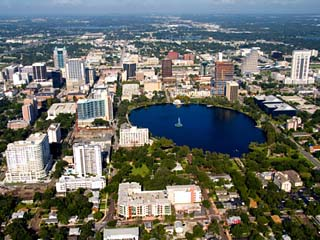 Aerial of Orlando Skyline and Lake Eola, Florida, USA