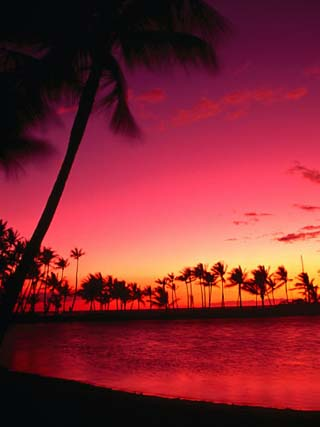 Sunset at Anaehoomalu Beach, Waikoloa, Hawaii, USA