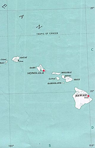 Hawaii latitude and longitude map