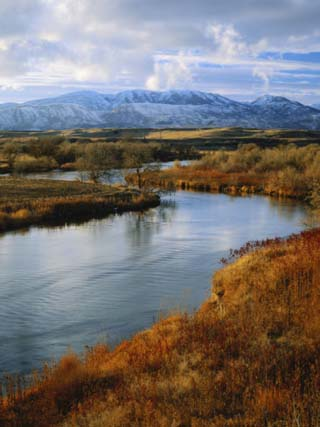 River Flowing Through Landscape, Bear River, Bannock Range, Cache Valley, Great Basin, Idaho