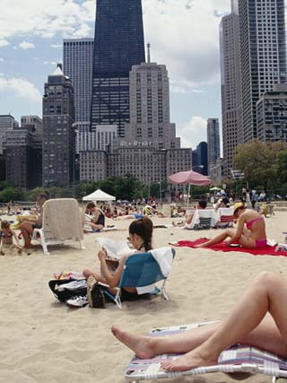 Group of People on the Beach, Oak Street Beach, Chicago, Illinois, USA
