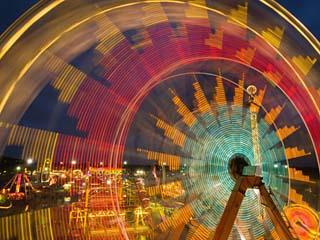 Spinning Carnival Rides at the Kansas State Fair