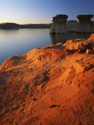Sandstone at sunset, Rocktown Natural Area, Wilson Lake, Kansas, USA