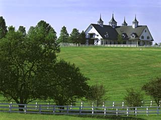 Elegant Horse Barn Atop Hill, Woodford County, Kentucky, USA