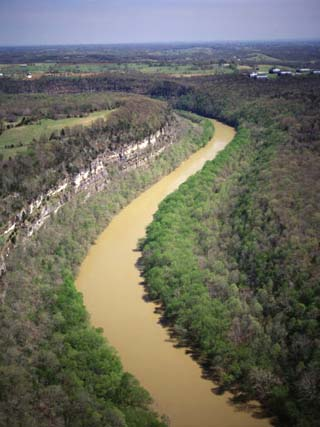 Aerial View of Kentucky River in the Palisades of Bluegrass Region of Kentucky, USA