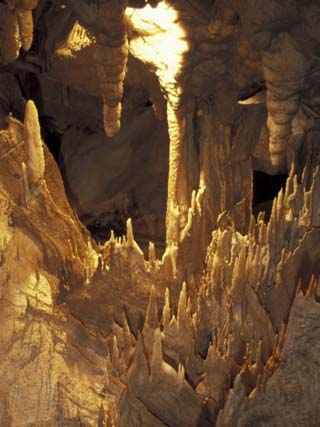 Stalactites and Stalagmites, Drapery Room, Mammoth Cave National Park, Kentucky, USA