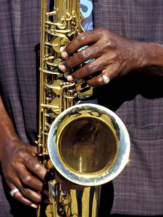 Musicians Hands Playing Saxaphone, New Orleans, Louisiana, USA