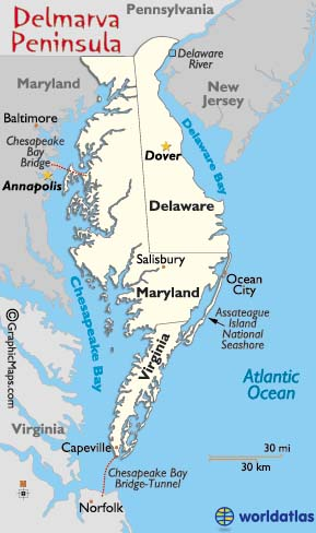 Chesapeake Bay On Map Of Usa.Delmarva Peninsula Map And Information Page
