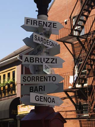 Signpost to Italian Cities, North End, 'Little Italy', Boston, Massachusetts, USA