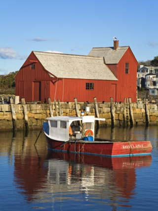 Boathouse in Rockport Harbor, Cape Ann, Greater Boston Area, Massachusetts, New England, USA