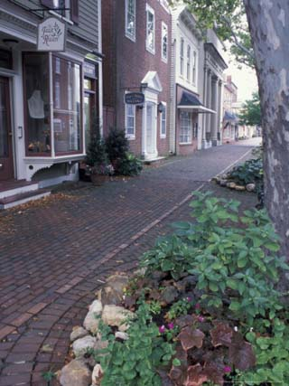 Brick Sidewalks in the Historic District of Chestertown, Maryland, USA