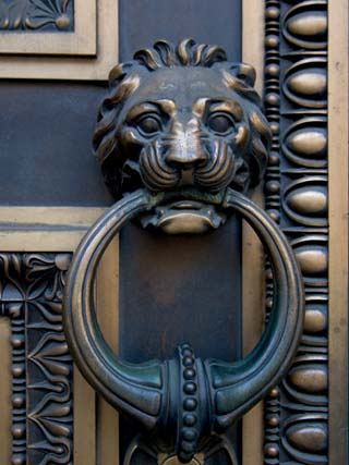 Lion-Headed Handle on Door of Baltimore City Courthouse, Baltimore, Maryland, USA