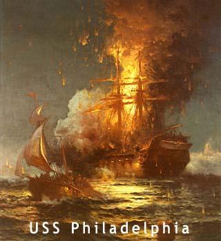 uss philadelphia burning
