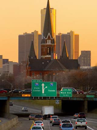 Church and Renaissance Center Aligned, Detroit
