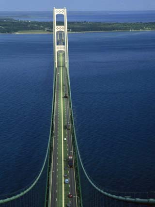 Lakes Michigan and Huron Meet, Mackinac Bridge, St. Ignace, Michigan