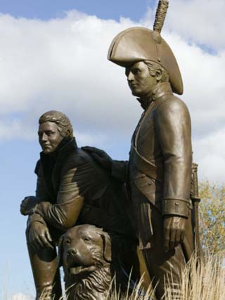 Monument to Explorers Lewis and Clark, St. Charles, Missouri