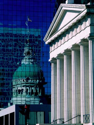 Old Courthouse and Historic Dome Reflected in Modern Building, St. Louis, Missouri