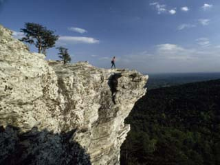 A Solitary Hiker Looks over the Blue Ridge Mountains from Hanging Rock, North Carolina
