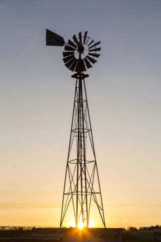 Old Windmill at Sunset Near New England, North Dakota, USA