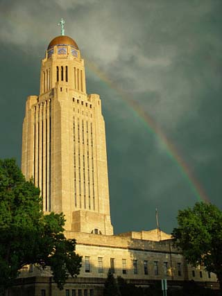 Nebraska, Lincoln, a Rainbow Wraps the State Capitol Building