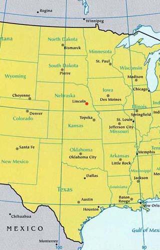 nebraska latitude longitude map