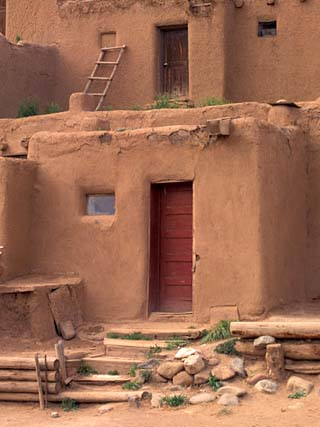 Adobe Detail, Taos Pueblo, Rio Grande Valley, New Mexico, USA
