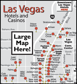 Hotel in vegas map strip of las
