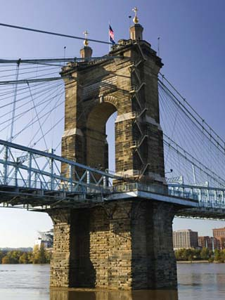 Roebling Suspension Bridge Over the Ohio River, Cincinnati, Ohio