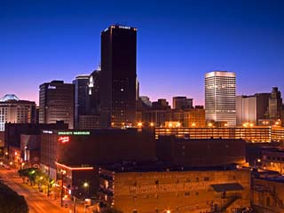 Oklahoma City Skyline Viewed from Bricktown District, Oklahoma, USA