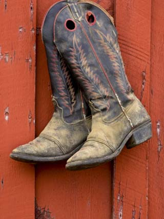 Worn Cowboy Boots Hanging, Ponderosa Ranch, Seneca, Oregon, USA