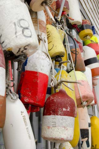 Colorful Fishing Floats, Block Island, Rhode Island, USA