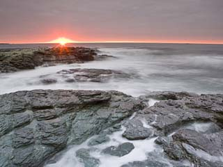 Sunrise Near Brenton Point State Park on Ocean Road in Newport, Rhode Island, Usa