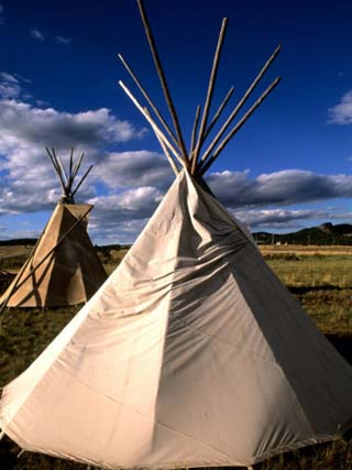Sioux Teepee at Sunset, Prairie near Mount Rushmore, South Dakota, USA