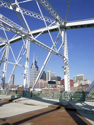 City Skyline and New Pedestrian Bridge, Nashville, Tennessee, United States of America