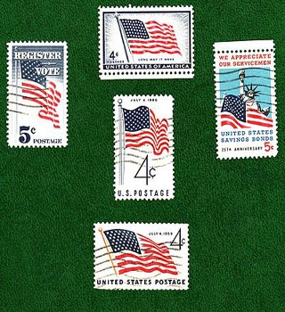 us flag on stamps