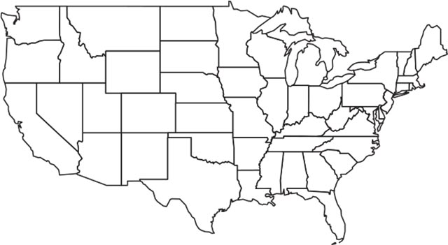 usa outline map