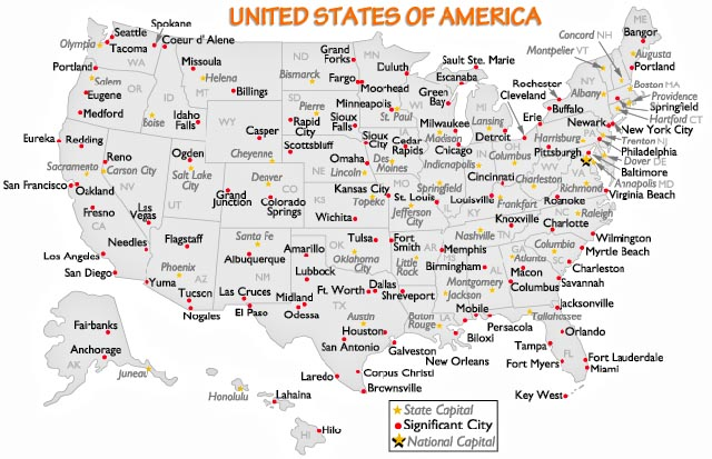 usa major cities map