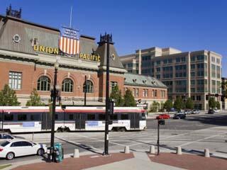 Historic Union Station and Light Rail Train, Salt Lake City, Utah, USA