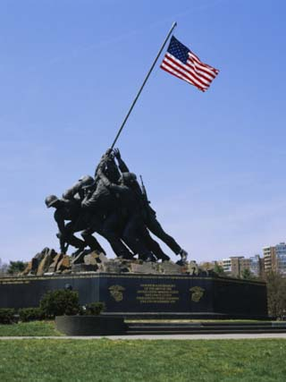Statues at a War Memorial, Iwo Jima Memorial, Arlington National Cemetery, Virginia, USA