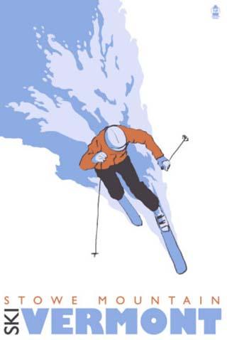 Stowe Mountain, Vermont, Stylized Skier