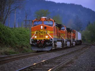 Freight Train Moving on Tracks, Stevenson, Columbia River Gorge, Washington, USA