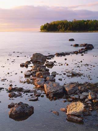 Sunset Light on the Rocky Shore of Green Bay at Peninsula State Park, Wisconsin, USA