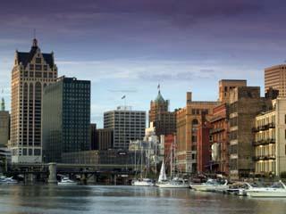 Downtown Milwaukee and Milwaukee River, Wisconsin