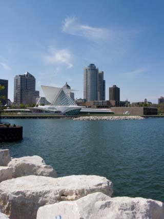 Museum at the Waterfront, Milwaukee Art Museum, Lake Michigan, Milwaukee, Wisconsin, USA