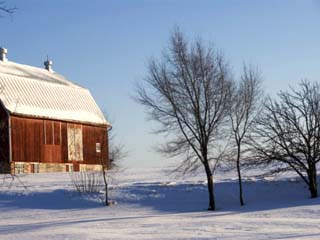 Typical Red Barn in Rural Wisconsin in Winter